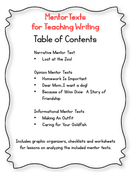 Common Core Writing - Opinion, Narrative, Informational Writing Examples