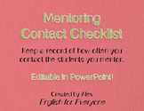 Mentoring Students Contact Checklist (Editable!)