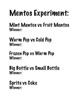 Mentos Experiment