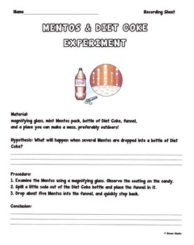 diet coke and mentos chemistry lesson plan
