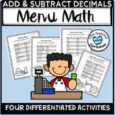Menu Activities for Adding and Subtracting Decimals