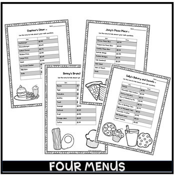 Menu Activities for Adding and Subtracting Decimals
