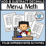 Menu Math With Decimals Addition and Subtraction Decimals
