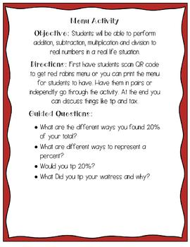 Real Number Operations Menu Activity