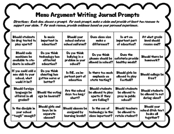 Menu Argument Writing Journal Prompts