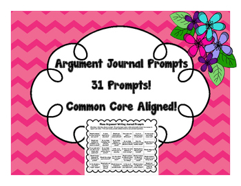 Menu Argument Writing Journal Prompts