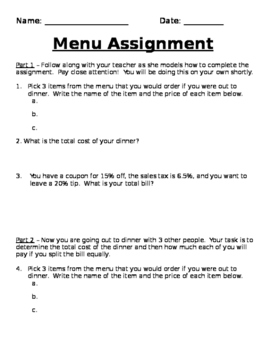 Menu Assignment - Multiple Percent Problems in the Real-World