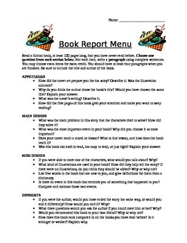 Menu Book Report