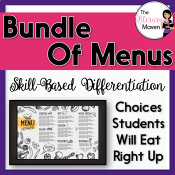 Menu Bundle - Based on Bloom's Taxonomy, Differentiated, Common Core Aligned