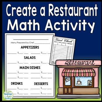 create your own restaurant menu math activity by