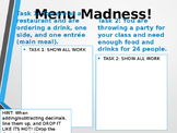 Menu Madness Performance Task