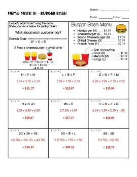 Menu Math #1 - Burger Bash