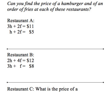Menu Math – A Seven Course Meal for Teaching Algebra to Everyone