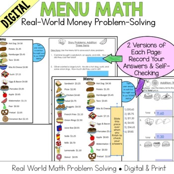 Menu Math Add, Subtract, Multiply: Money: Real-World Word Problem