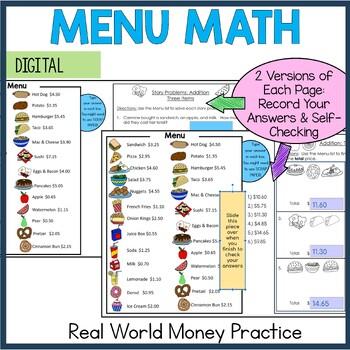 Menu Math Add, Subtract, Multiply: Money: Real-World Word Prob