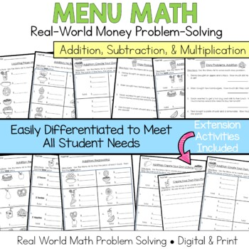 Menu Math Add, Subtract, Multiply: Money: Real-World Word Prob
