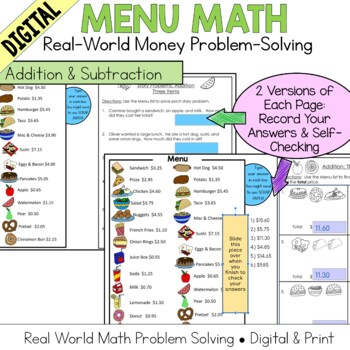 Menu Math Addition & Subtraction: Money: Real World Application: story problems
