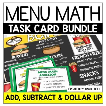 Money Task Card Bundle Menu Math