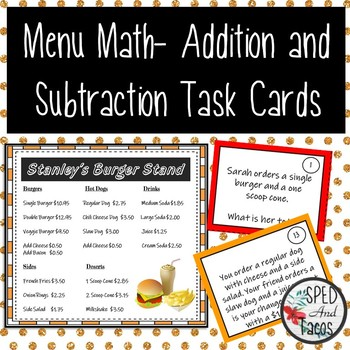 Menu Math-Addition and Subtraction Task Cards