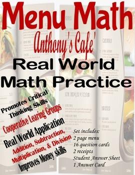 Menu Math with Money - 'Anthony's Cafe'