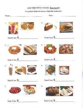 Menu Math Special Education Money- Bon Appetit