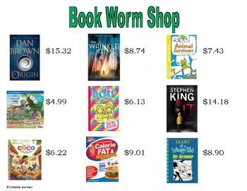 Menu Math- Book Worm Store