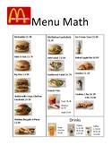 Menu Math Bundle Pack (Includes 5 Menu Math Packets)
