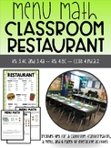 Menu Math Classroom Restaurant- Practice Money Concepts in