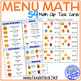 Menu Math Clip Cards: Real World Math for Elementary or Autism Units