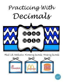 Menu Math (Comparing and Ordering Decimals)