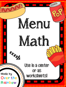 Menu Math Currency Addition Practice