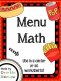 Menu Math Currency Addition Practice *To the Penny