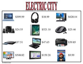 Menu Math- Electric City