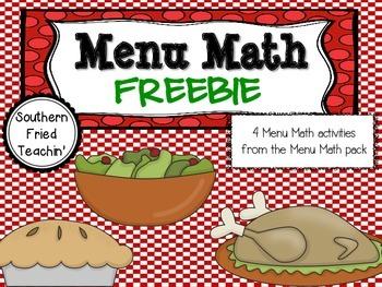 Menu Math Freebie