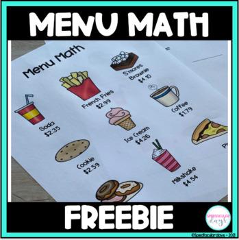 Menu Math Worksheet Free by Spedtacular Days | Teachers ...