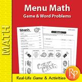 Menu Math Game & Word Problems