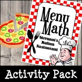 Menu Math - Italian Restaurant (Math Activities & Interactive Play)
