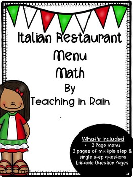 Menu Math- Italian Restaurant
