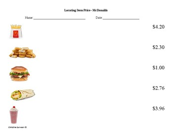 Menu Math- Locating Prices on a Menu
