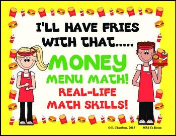 Menu Math Money Practice Differentiated