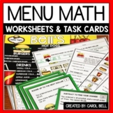 Money Worksheets and Task Card Bundle Menu Math Distance Learning