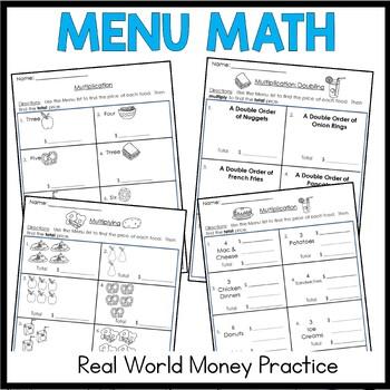 Menu Math Multiplication: Money: Real-World: Word Problems: Multi-step Problems