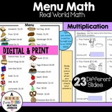 Menu Math Multiplication: Money: Real-World: Word Problems: Multi-step Problems