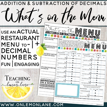 Subtracting Decimals Using a Favorite Menu {Students plan Thanksgiving Meal}