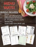 Menu Math Play Activity - Addition and Subtraction with Money