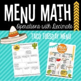 Menu Math Practice: Add, Subtract and Multiply Decimals Activity