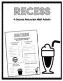 Menu Math-Recess: A Decimal Restaurant Math Activity
