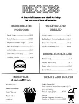 Menu Math-Recess: A Decimal Restaurant Math Activity
