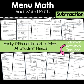 Menu Math Subtraction: Money: Real World Application: Word Problems: Story Prob