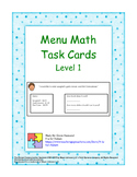 Menu Math Task Cards - Level 1